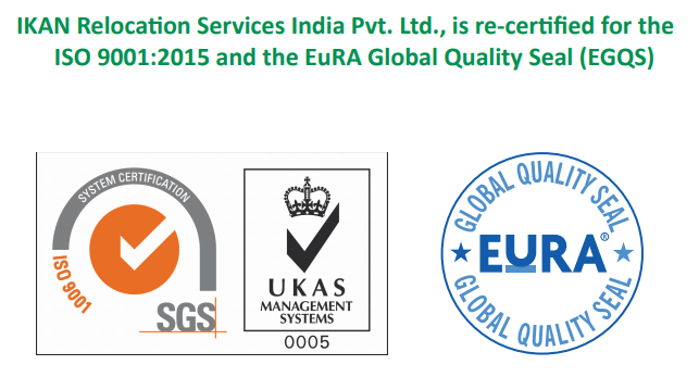 IKAN Relocation Services India Pvt. Ltd., is re-certified for the ISO 90012015 and the EuRA Global Quality Seal EGQS Ikan Milestones
