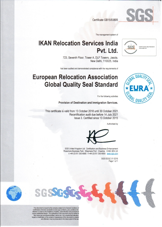 sgs quality certificate for ikan relocation services
